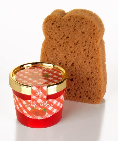 Set De Baño Originales: de tostada y un tarro de mermelada, que en realidad es el gel de baño