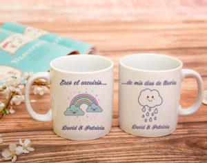 taza para parejas Arcoiris en mis días de lluvia
